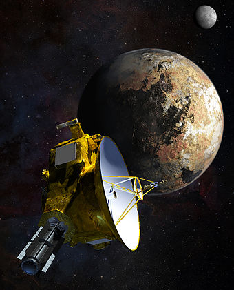 Artist's impression of New Horizons' close encounter with the Pluto-Charon system. 15-011a-NewHorizons-PlutoFlyby-ArtistConcept-14July2015-20150115.jpg