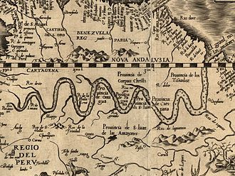 Amazonas (Brazilian state) - 1562 map of the Amazon River Region.