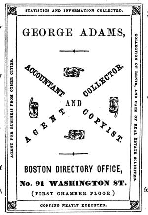 Advertisement from the Boston Directory, 1851