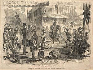 Downtown Crossing - Intersection of Washington Street, Summer Street and Winter Street, 1857 (engraving by Winslow Homer