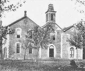 Pea Ridge, Arkansas -  The 1880 Pea Ridge Masonic College building as it appeared in 1920, about ten years before it was razed