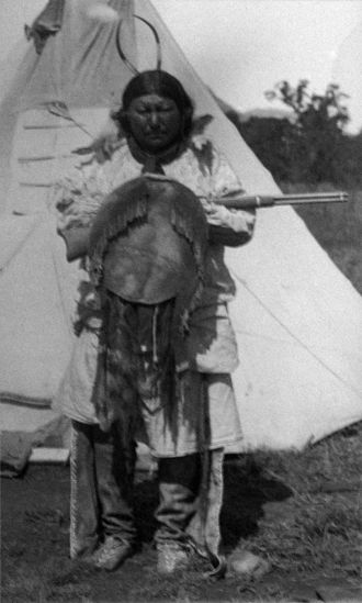 White Horse (chief) - White Horse holding his war shield