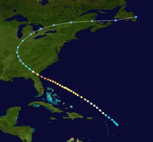1898 Georgia hurricane - Image: 1898 Atlantic hurricane 7 track