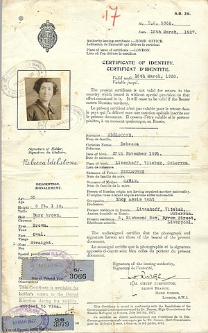 Nansen passport - 1927 British issued Nansen identity certificate, used for traveling to British Palestine, issued to a Russian Jewish refugee.