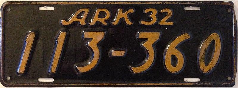 File:1932 Arkansas license plate.jpg