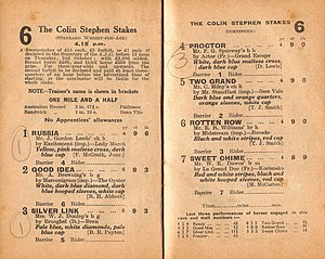 Russia (horse) - 1947 Colin Stephen racebook showing the DH winner Russia.