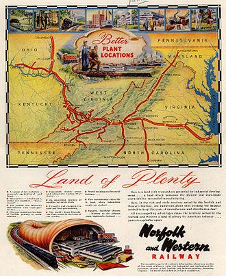 Norfolk and Western Railway - Norfolk and Western magazine ad with system map, 1948