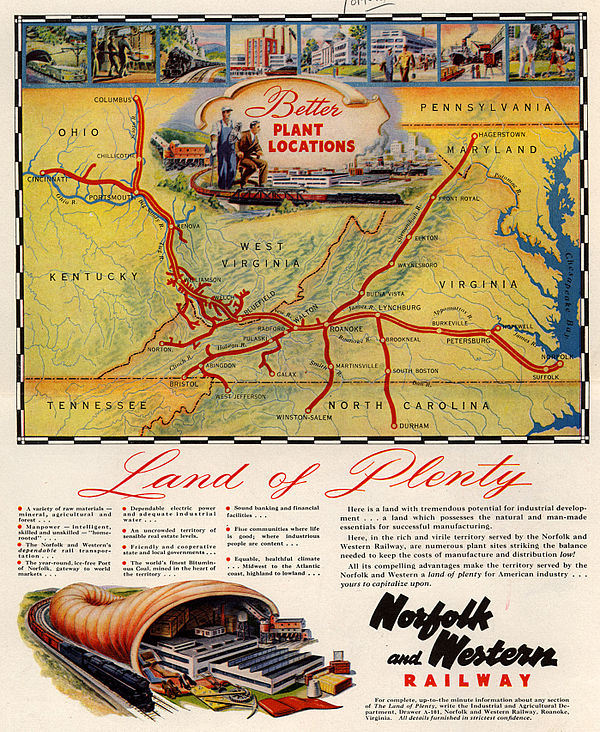 Norfolk and Western magazine ad with system map, 1948 1948 Norfolk and Western Railway - Land of Plenty.jpg