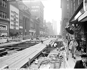 Subway construction on Yonge Street, 1949