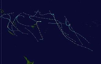 1986–87 South Pacific cyclone season - Image: 1986 1987 South Pacific cyclone season summary