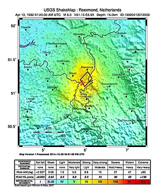 1992 Roermond earthquake - USGS Shakemap for the earthquake
