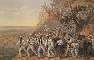 "101st Regiment of Foot (Royal Bengal Fusiliers) - ""The 1st Bengal Fusiliers Marching Down from Dugshai"", after George F. Atkinson, 1857. Soldiers are depicted wearing campaign dress of grey shirts and white covered forage caps"