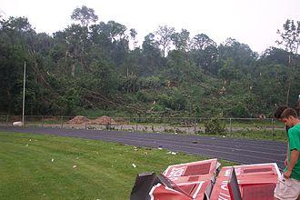 2006 Westchester County tornado - Tornado damage near a forested area