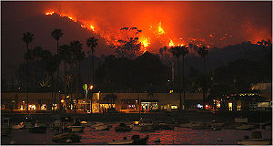 Island Fire - The Island Fire as seen from Avalon Harbor.