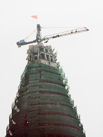 Ryugyong Hotel - View of the top in September 2008, several months after construction resumed