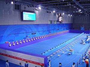 Modern pentathlon at the 2008 Summer Olympics - Image: 2008 Olympic Modern penthalton shooting