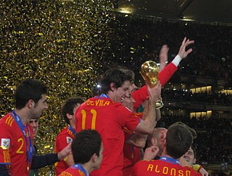Spain national football team - Spanish players celebrate winning the 2010 FIFA World Cup