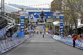 2010 UCI Road World Championships - View down the start-finish straight, showing the final incline with which riders had to contend