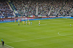 Kilmarnock F.C. - Kilmarnock playing against Celtic F.C. in the 2012 Scottish League Cup Final in which Kilmarnock beat Celtic 1–0