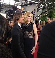 Nicole Kidman con il suo attuale marito Keith Urban ai Golden Globe 2013