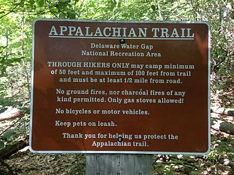 Appalachian Trail - Camping regulations in the Delaware Water Gap National Recreation Area of New Jersey