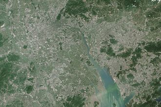 Pearl River Delta - Image: 2014 NASA Earth Observatory image of Pearl River Delta