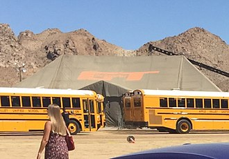 The Grand Tour - The Grand Tour tent behind school buses in the Lucerne Valley, California for the first episode of series 1