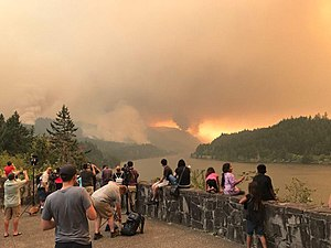 Eagle Creek Fire - Onlookers watching the fire from the Columbia River Gorge, September 4