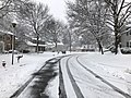 2018-03-21 10 15 53 View south along a snow-covered Dairy Lou Drive (Virginia State Route 6843) at Dairy Lou Court (Virginia State Route 6844) in the Franklin Farm section of Oak Hill, Fairfax County, Virginia.jpg