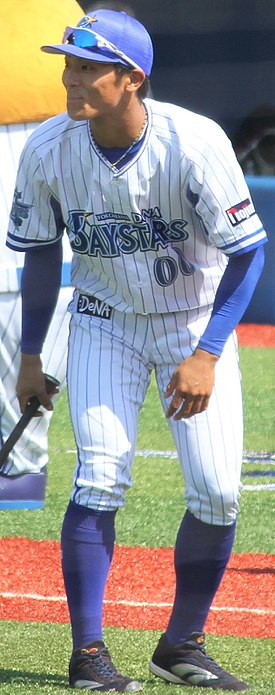 20180325 Shumei Miyamoto, infielder of the Yokohama DeNA BayStars, at Yokohama Stadium.jpg