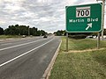 2019-08-24 19 06 20 View east along U.S. Route 40 (Pulaski Highway) at exit for Maryland State Route 700 (Martin Boulevard) on the edge of Middle River and Rossville in Baltimore County, Maryland.jpg
