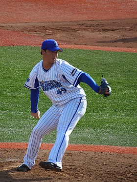 20190929 Ken Akama, pitcher of the Yokohama DeNA Baystars, at Yokosuka stadium.jpg