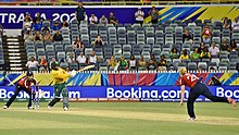 At the end of the Group B England v South Africa match at the WACA Ground, Mignon du Preez hits the winning runs that ultimately knocked England out of the tournament.