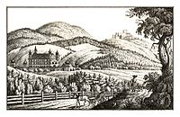 273 Das hochfürstliche Schwarzenbergische Schloss Schrattenberg, Kreis Judenburg, gez. von S. Kölbl - J.F.Kaiser Lithografirte Ansichten der Steiermark 1830.jpg