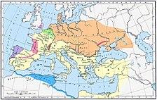 Imperio Romano (amarillo) e Imperio Huno (naranja) en el 450