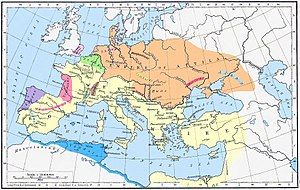 Battle of the Catalaunian Plains - Roman Empire (yellow) and Hunnic Empire (orange) 450