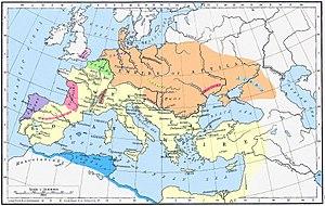 Battle of the Catalaunian Plains - Roman Empire (yellow) and Hunnic Empire (orange) 450