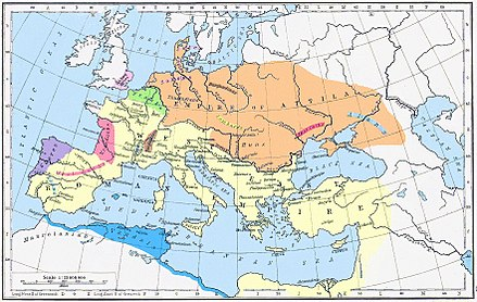 A colored drawing of Europe, showing the states at the time of Attila by different colors, with the Roman Empire in yellow, the Hunnic Confederation in orange, the Vandal Kingdom in blue, the Franks in green, the Goths in pink, the Sueves in purple, the Saxons in light pink, the Burgundians in brown, the Lombards in bright yellow, and the Alans in light blue.