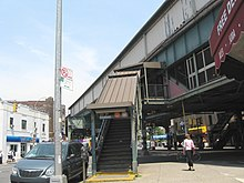 A stairway to the elevated 55th Street subway station is located on 13th Avenue.