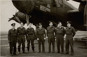 No. 640 Squadron RAF -  A crew from No. 640 Squadron at Leconfield taken in December 1944, with a Halifax III in the background. Photograph features: Captain F/O R.Wakeman, DFC; Navigator P/O Reginald William Parr, DFC; Bomb Aimer F/O C.B.Morrison, RCAF, DFC; W/Op. F/Sgt H. Bearyman; Flt.Eng F/Sgt P/McPhie; Mid-upper Gunner F/S H.Thomas; Rear Gunner F/Sgt E.G. Humphries.