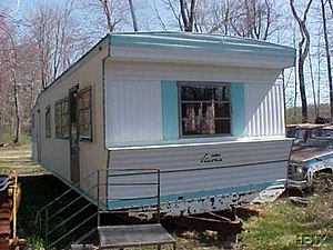 Mobile home - Typical mobile home from the late 1960s and early 1970s: twelve by sixty feet