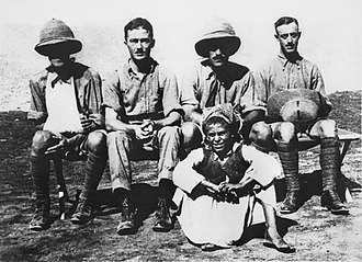 Thomas White (Australian politician) - Captain White (second left) with Captain Henry Petre (far left) and Lieutenant George Merz (far right) of the Mesopotamian Half Flight at Basra, July 1915