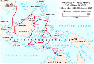 North Borneo - Japanese military movement throughout the Malay Archipelago from 1941 to 1942.
