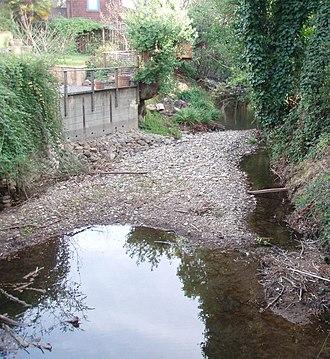 Arroyo Corte Madera del Presidio - Arroyo Corte Madera del Presidio non-tidal lower reach through residential area of Mill Valley.