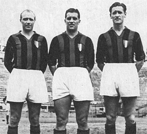 History of A.C. Milan - Gunnar Gren, Gunnar Nordahl and Nils Liedholm.