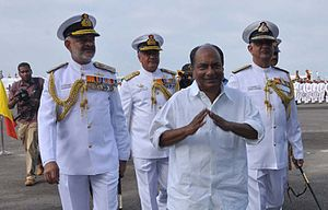 A. K. Antony - AK Antony accompanied by Chief of the Naval Staff Admiral's Nirmal Verma and DK Joshi.