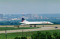 A British Airways Concorde supersonic transport aircraft taxis to a stop upon arrival on base DF-ST-92-04788.jpg