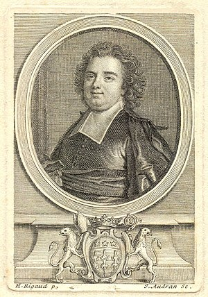 Portrait de l'Abbé de Louvois, gravure de Gérard Audran d'après Hyacinthe Rigaud
