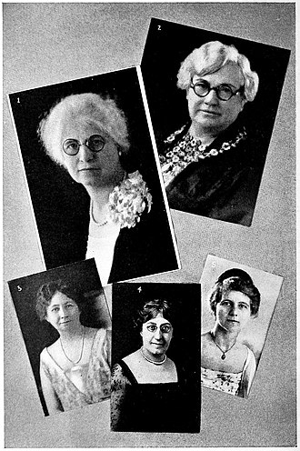 C. Louise Boehringer - 1) C. Louise Boehringer, 2) Mattie L. Williams, 3) Maie Bartlett Heard, 4) Margaret Wheeler Ross, 5) Edith O. Kitt