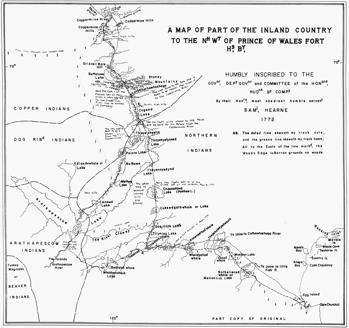 A Map of Part of the Inland Country to the North West of Prince of Wales Fort Hudon's, Bay Samuel Hearne 1772 (1969).jpg